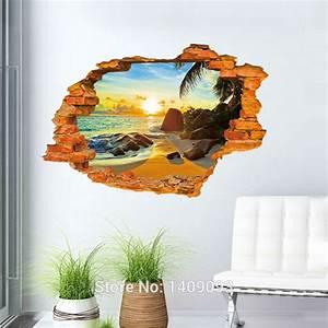 Vintage brick wall decals d sticker beach sea beautiful