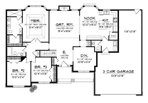 2000 sq ft house plans with 3 car garage
