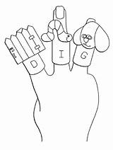 Puppet Coloring Finger sketch template