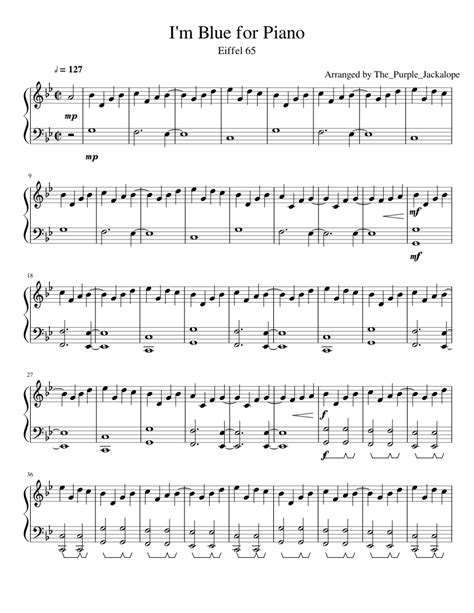 Blue Eiffel 65 Testo by I M Blue By Eiffel 65 For Piano Sheet For Piano