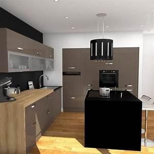 Meuble de cuisine taupe avec ilot de cuisine noir mat for Petite cuisine équipée avec meuble colonne salle a manger