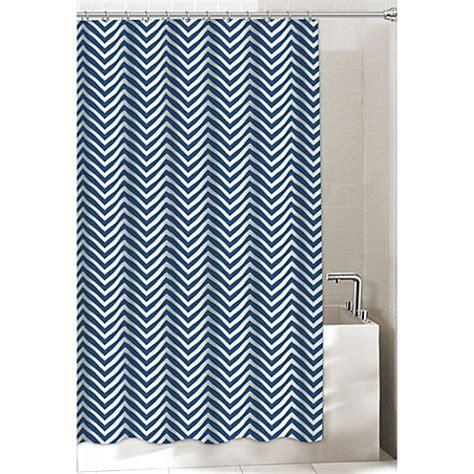 navy chevron curtains chevron shower curtain in navy bed bath beyond