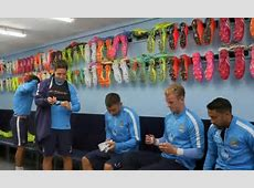 Manchester City show off rainbow bootroom as stars