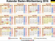 Kalender 2016 BadenWürttemberg Ferien, Feiertage, PDF