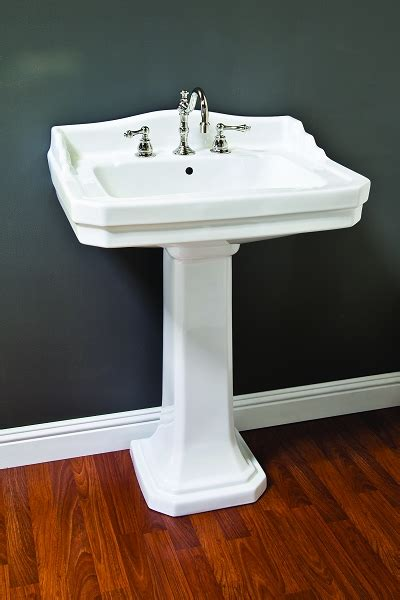 porcelain deco pedestal sink  backsplash