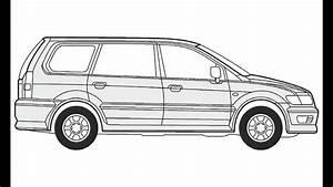 How To Draw A Mitsubishi Space Wagon     U041a U0430 U043a  U043d U0430 U0440 U0438 U0441 U043e U0432 U0430 U0442 U044c