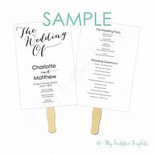 Wedding program fan template free sample bombshell my for Samples of wedding invitations and programs