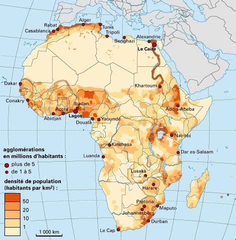 Carte Densité Population 2017 by Carte De L Afrique Cartes Sur Le Continent Africains