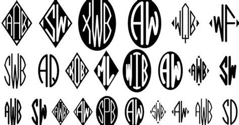harolds monograms   original set  oval  diamond shape fonts     easily