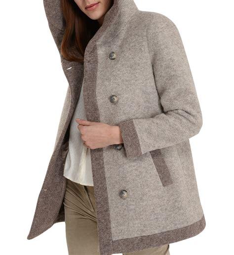 manteau bicolore en bouillie 224 capuche civas en beige pour femme galeries lafayette