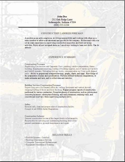 Construction Foreman Resume Template Free by Construction Superintendent Resume Exles And Sles