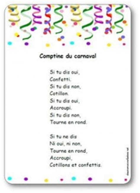 comptine du carnaval de carl norac paroles illustrees de