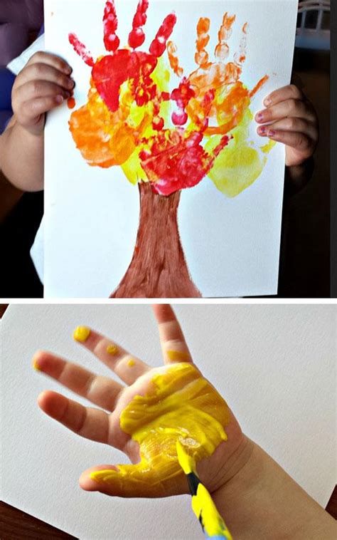 22 easy fall crafts for to make 152   Kids Handprint Fall Tree Craft