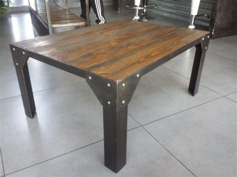 table en bois industriel table bois et acier cuisine naturelle