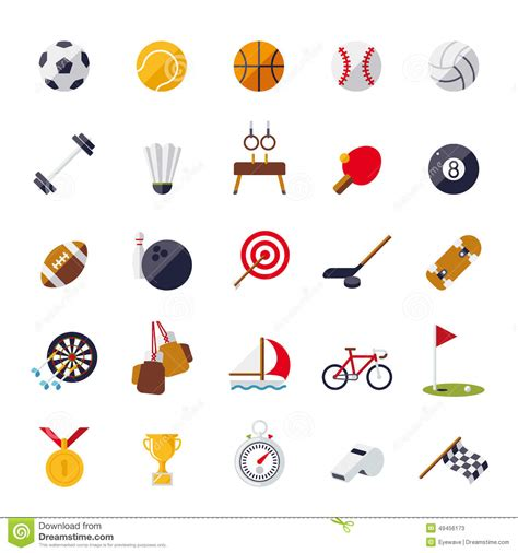 sports icons flat design isolated vector set stock vector