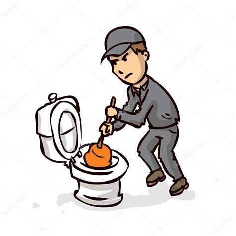 Verstopfte Toilette Problem Beseitigen by Klempner Beseitigt Verstopfte Toilette Stockvektor