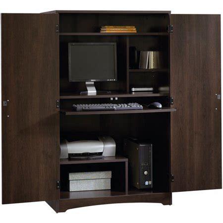 sauder computer armoire sauder computer armoire cinnamon cherry finish walmart