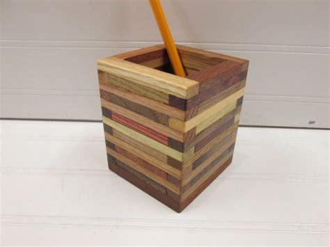 pencil holder desk organizer wood box paint brush