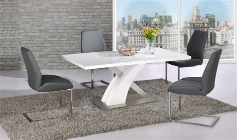 grey and white dining table white glass gloss dining table and 4 grey chairs set