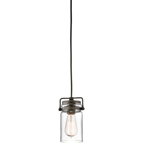 mini glass jar hanging pendant light bronze detailing and