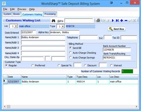 safe deposit box access forms safe deposit billing software worldsharp safe deposit