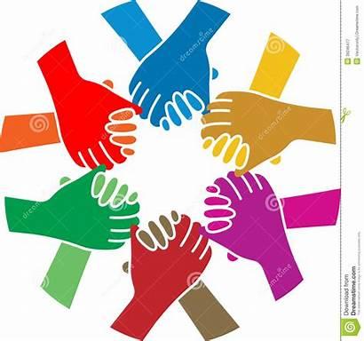 Stretta Gruppo Mano Handshake Della Team Illustrazione