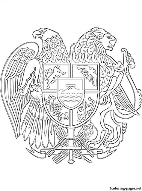 armenia coat  arms coloring page coloring pages