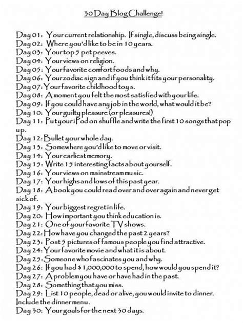 30 Day Blog Challenge (plus All 30 Questions) Art