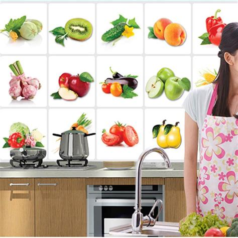 poster mural pour cuisine 2016 selling 3d diy vinyl proof kitchen wall decals vegetable fruit poster tile mural