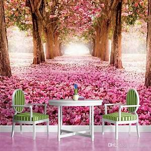 3D wallpaper Pink flower Trees Wall Mural Custom Natural ...