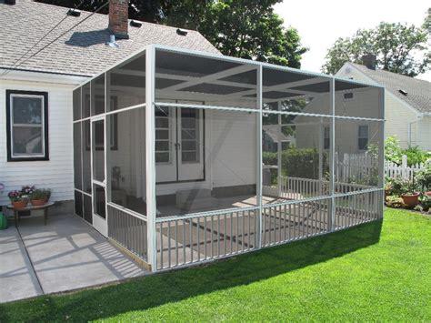 white screen porch enclosure  flat roofline