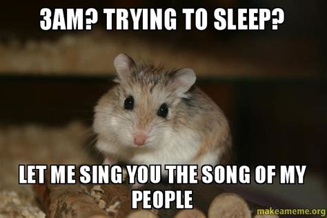 Trying To Sleep Meme - 3am trying to sleep let me sing you the song of my people make a meme