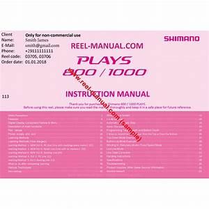 Shimano 2017 Plays 1000 Download Original User Manual