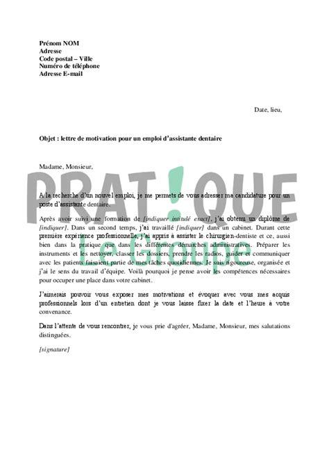 lettre de motivation pour cabinet de recrutement lettre de motivation pour un emploi d assistante dentaire pratique fr