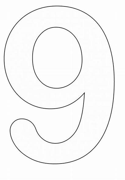 Coloring Pages Number Nine Numbers Template Popular