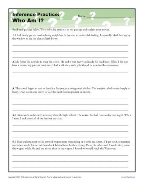 Who Am I?  Inference Worksheet For 4th And 5th Grade