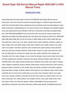 Suzuki Eiger 400 Service Manual Repair 2002 2 By
