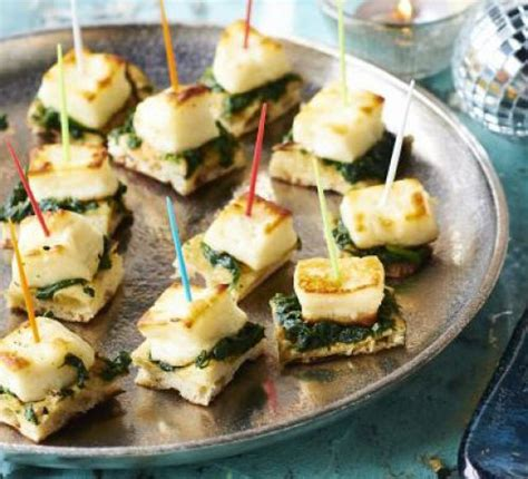 vegetarian canapes easy naan spinach halloumi bites recipe food