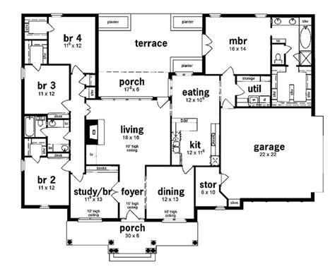 House Plans 5 Bedroom by Floor Plan 5 Bedrooms Single Story Five Bedroom European