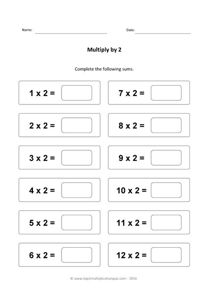 two times table practice multiply by 2 quiz worksheets