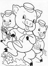 Pigs Coloring Three Pages Preschool Practice Printable Learning sketch template