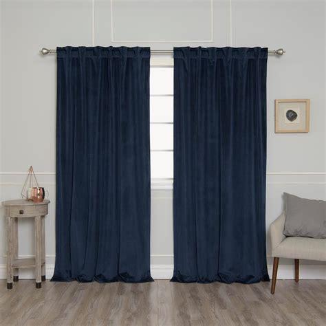 Navy Velvet Drapes - best home fashion navy 96 in l room darkening luster
