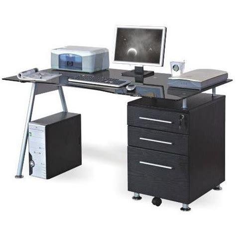 bureau table en verre bureau table informatique nero noir verre achat