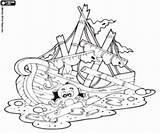 Afundado Navio Coloring Coloriage Schip Gezonken Bateau Shipwreck Restos Coule Ship Sunken Desenhos Overblijfselen Colorir Pirate Kleurplaat Pozostałości Template Um sketch template