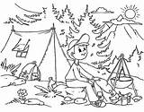 Coloring Camp Summer Boy Sitting Pages sketch template