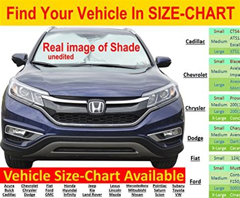 l shade size guide windshield sun shade hassle free size chart excellent uv
