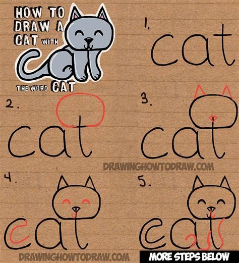 draw  cat   word cat easy drawing tutorial
