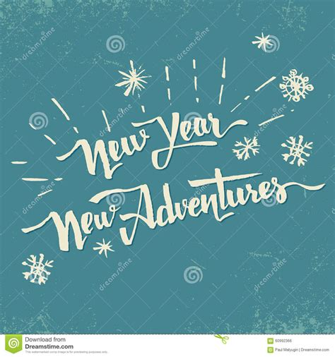 year  adventures hand drawn lettering stock vector