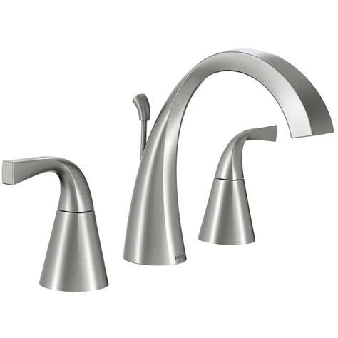 moen bathroom sink faucets shop moen oxby spot resist brushed nickel 2 handle