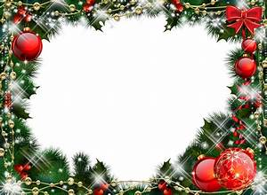 Green Transparent Christmas Photo Frame with Red Ornaments